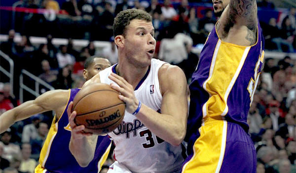 Blake Griffin looks to pass during the Clippers' rout of the Lakers, 123-87, on Jan. 10. Griffin had 19 points, seven rebounds and three assists in the win.