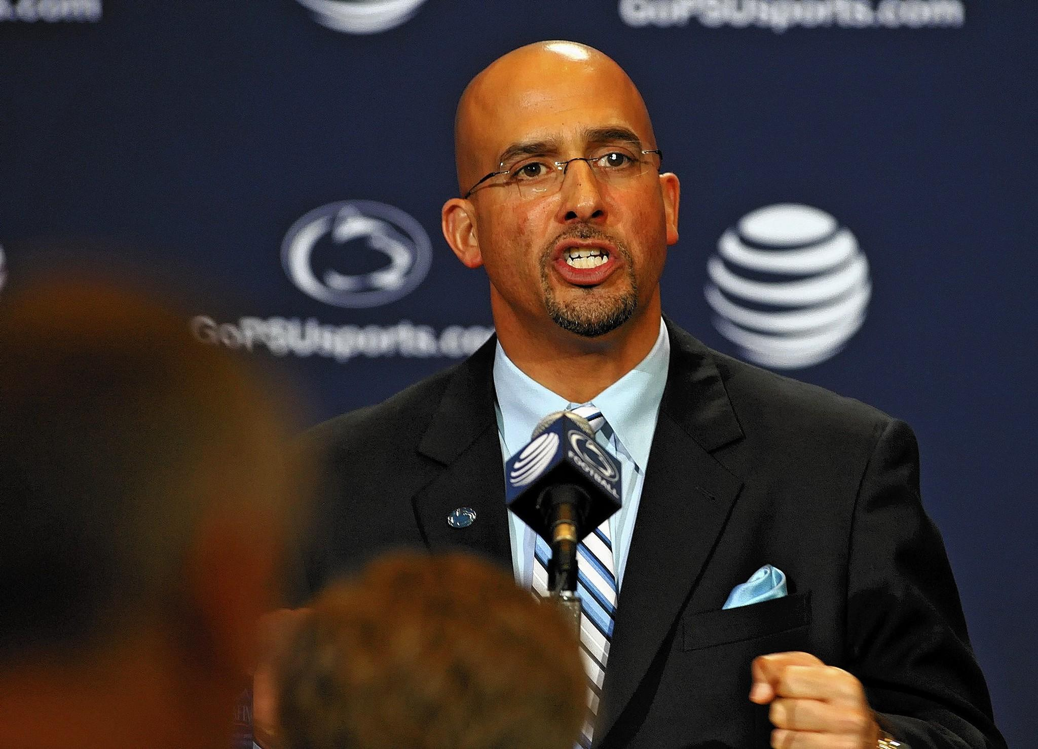 New head football coach James Franklin talks to the media Saturday, January 11, 2014 at Beaver Stadium in State College.