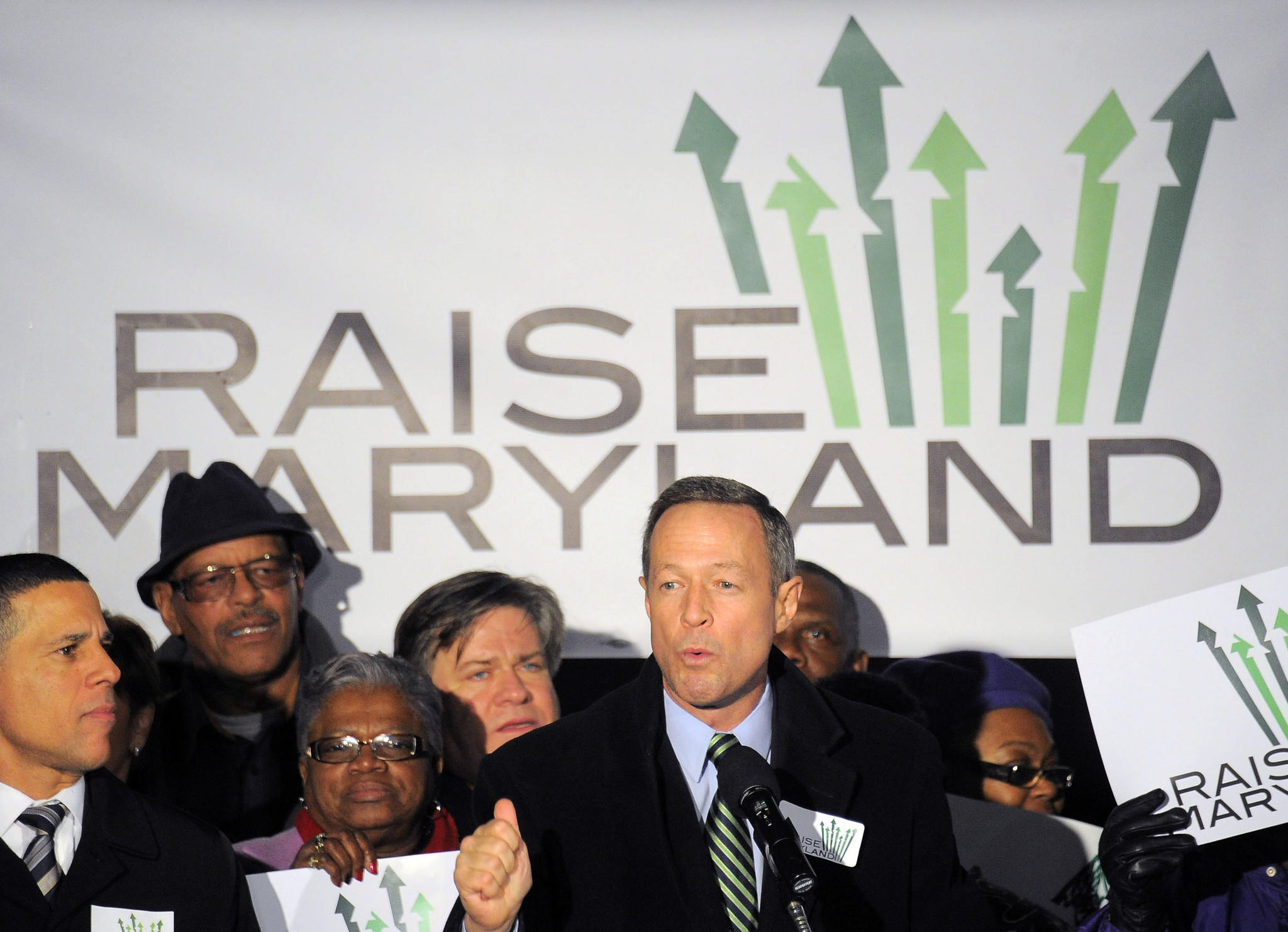 "Governor Martin O'Malley (D-Md.) speaks during a ""Raise Maryland"" budget rally in the shadow of the state capitol."