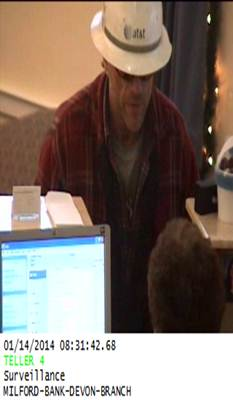 Police are searching for this man in connection with a robbery that took place Monday at the Milford Bank branch on Route 1 in Milford.
