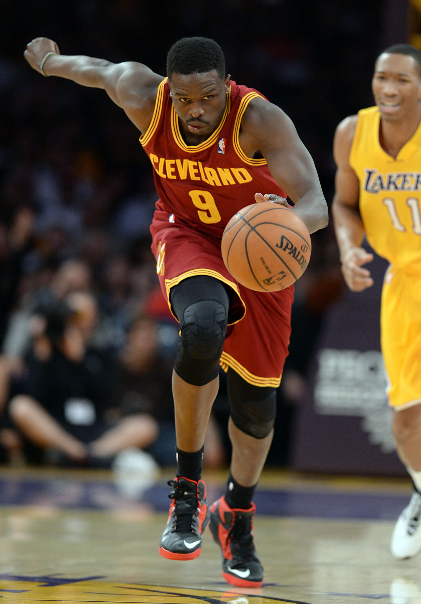 Cleveland Cavaliers small forward Luol Deng (9) steals the ball from Lakers shooting guard Wesley Johnson (11).