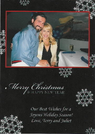 An undated holiday card sent by Terry Grontis and Juliet Bickford.