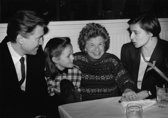 David Lynch, Alexandria Jones, Dr. Ruth Westheimer and Isabella Rossellini in 1988.