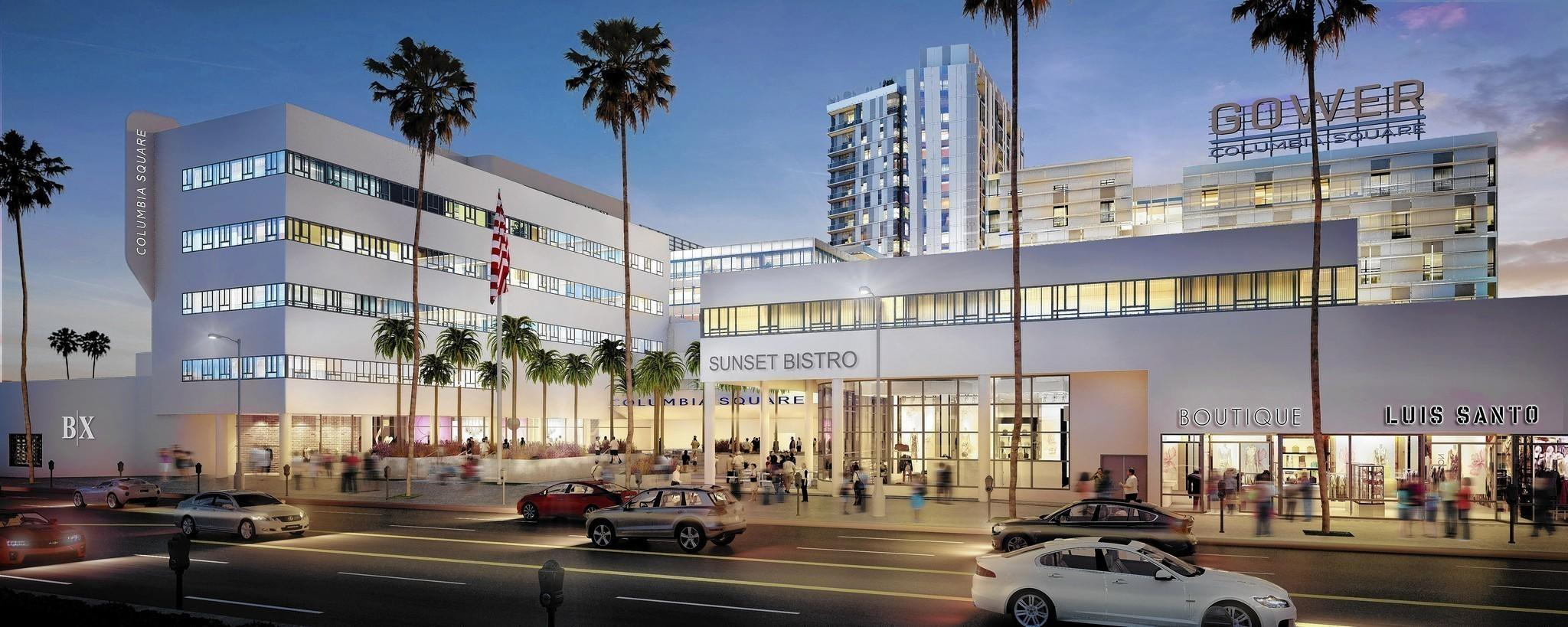 The revival of the legendary headquarters of CBS on the corner of Sunset Boulevard and Gower Street will provide a vintage backdrop for the new Columbia Square tower. Above, a rendering of the project.
