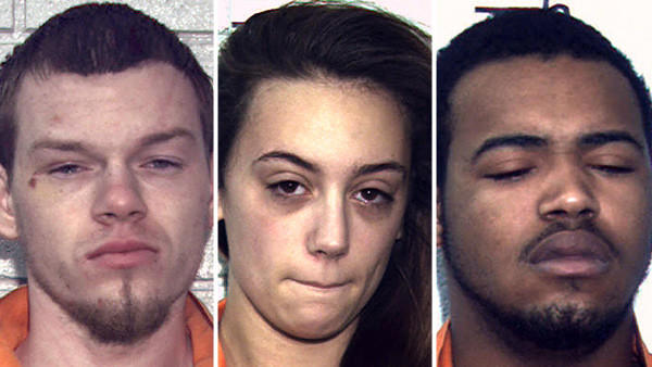 "(From left) Bruce Murray, 22, Jacqueline R. Harrigan, 20, and Dygunn S. ""DayDay"" Mitchell, 16, have been charged with criminal homicide and related charges in a deadly drive-by shooting at a mobile home in the Poconos early Tuesday."