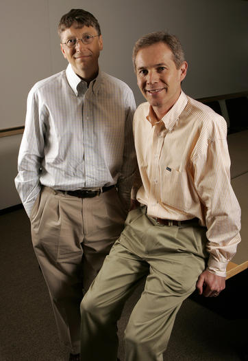 Microsoft chairman Bill Gates, left, with media executive Blair Westlake