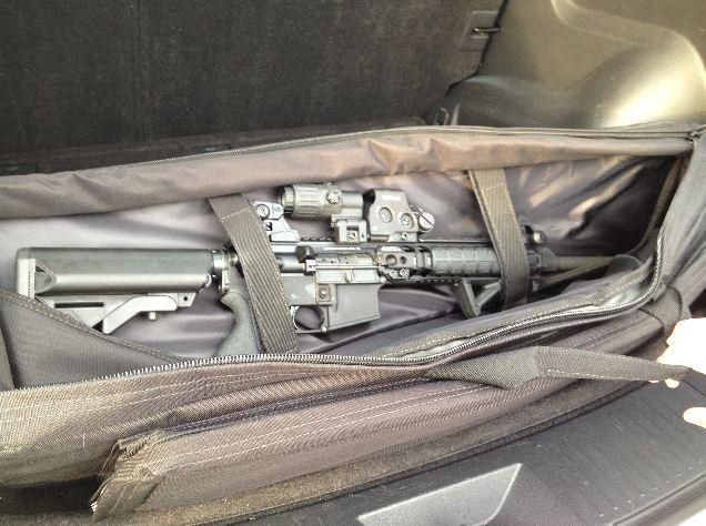 Shown is the AR-15 rifle found by Judith Fleissig after officials say it was left behind by Lauren Tannehill.