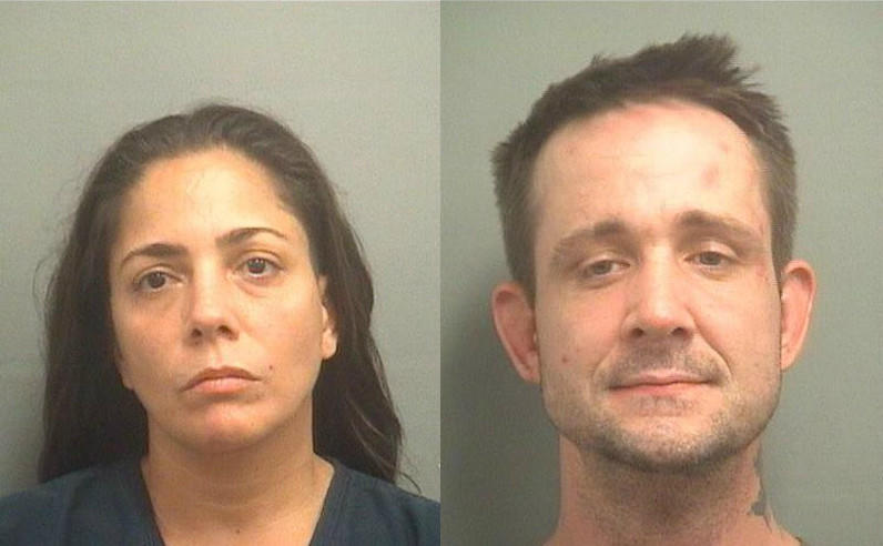From left, Anna Muniz, 43, and Steven Phelan, 39, both of Lake Worth, are accused of fighting their neighbor after he complained about Munizs dog.