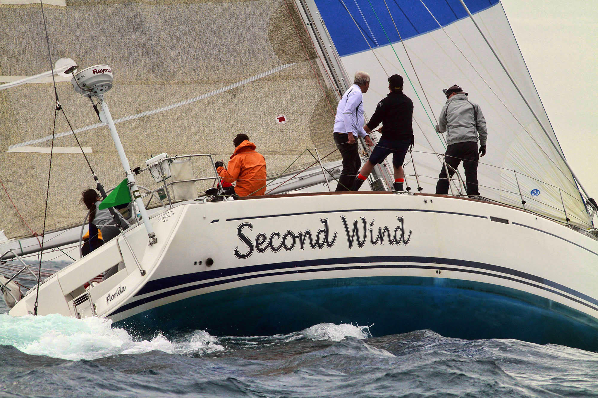 The crew of the Second Wind starts the Lauderdale to Key West sailing race.