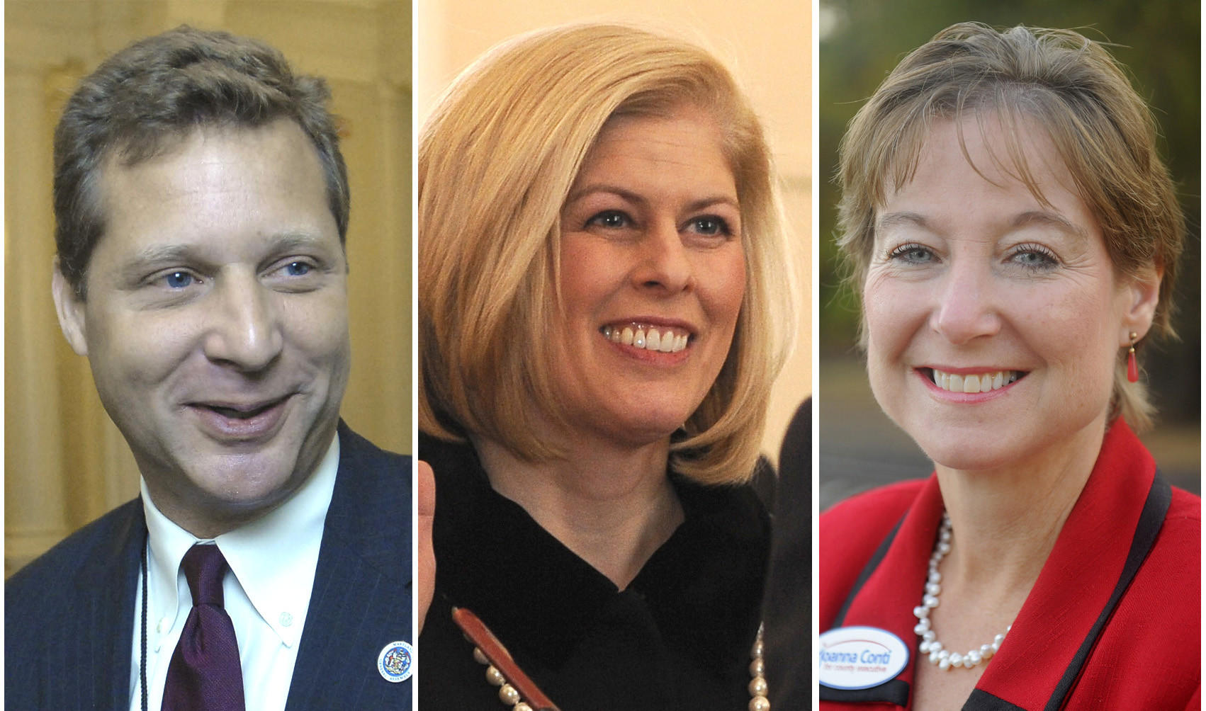 State Del. Steve Schuh and incumbent County Executive Laura Neuman, center, are vying in the GOP primary for county executive, while Joanna Conti, right, is the lone Democrat running for the office thus far.