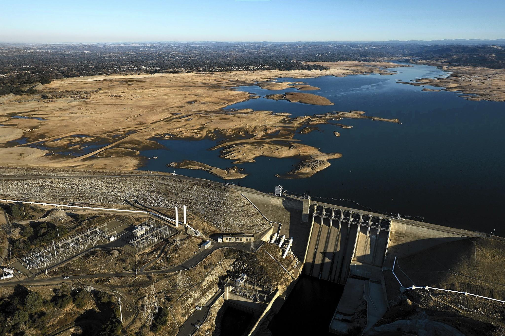 Some of the grimmest water measurements this year are from Folsom Lake on the American River northeast of Sacramento. The reservoir, above, is only 18% full, which is near a record low.