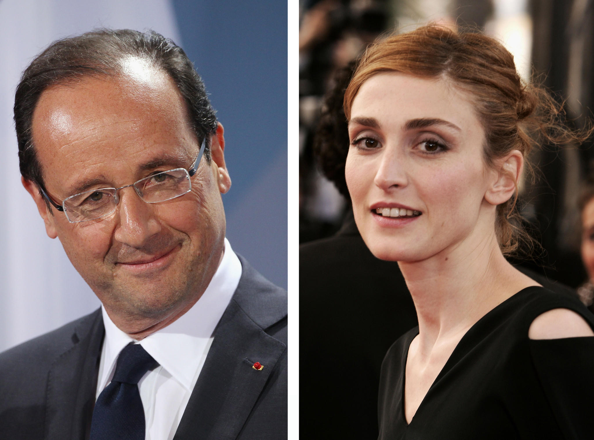 A composite image shows president of France Francois Hollande (L) and actress Julie Gayet.