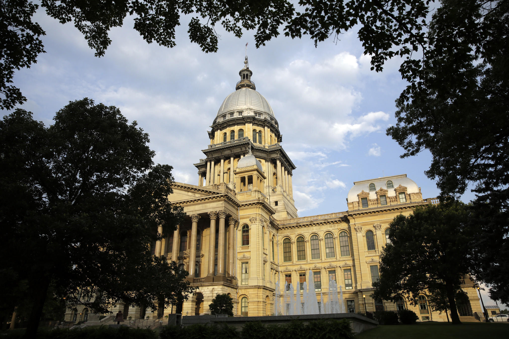 A file photo shows the Illinois State Capitol in Springfield.