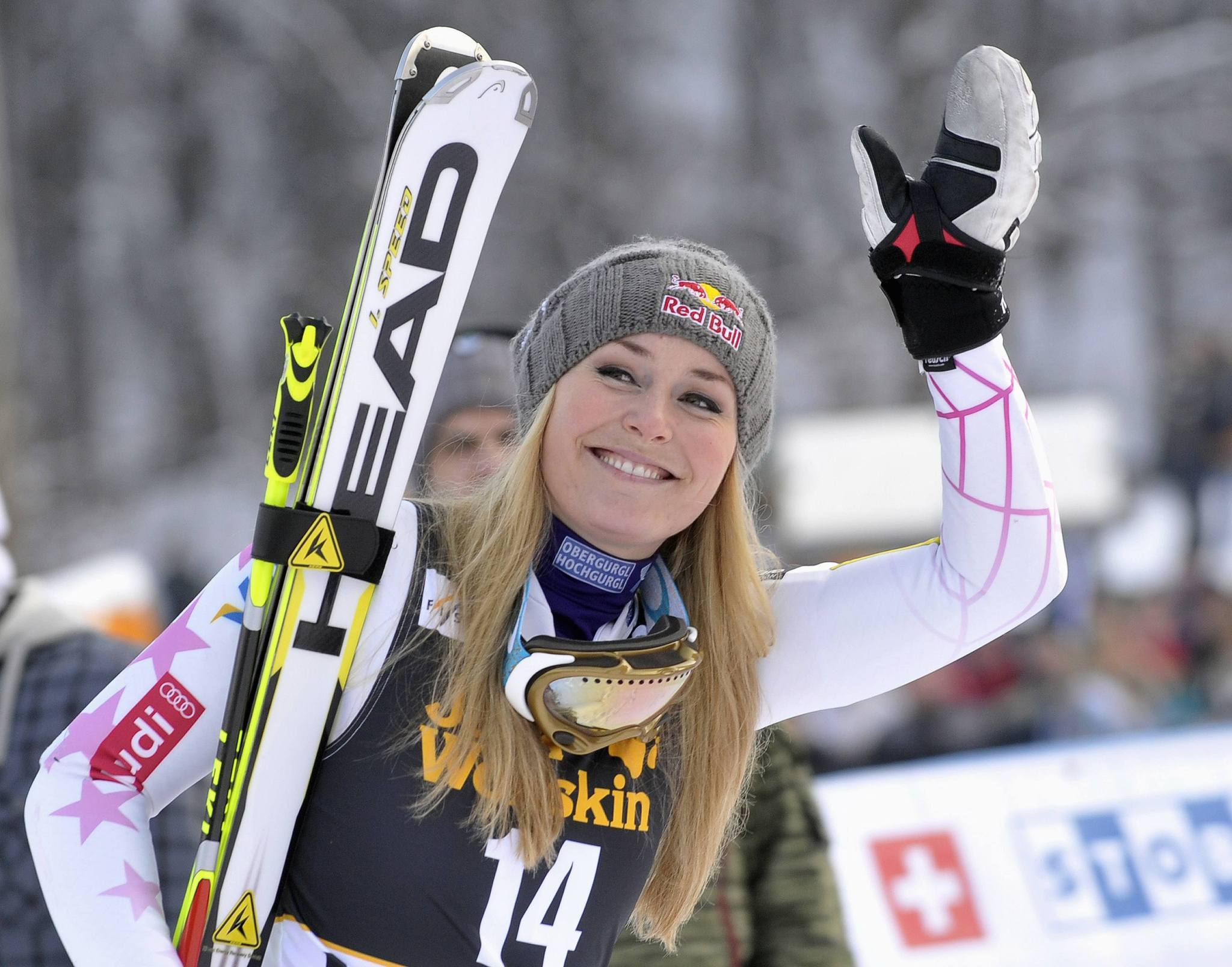 Lindsey Vonn of the U.S. reacts after winning the World Cup Women's Giant Slalom race in Maribor.