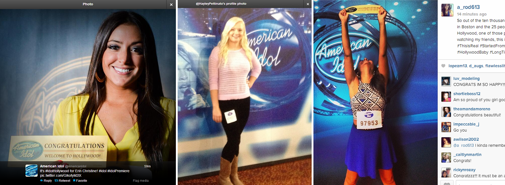 From left to right: Erin Christine, Hayley Pettinato, and Amaryllis Rodriguez. All three moved on to Hollywood Wednesday night during American Idol's season premiere. Photographs via Twitter and Instagram.