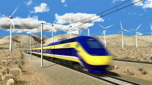 An artist's rendering of a bullet train.