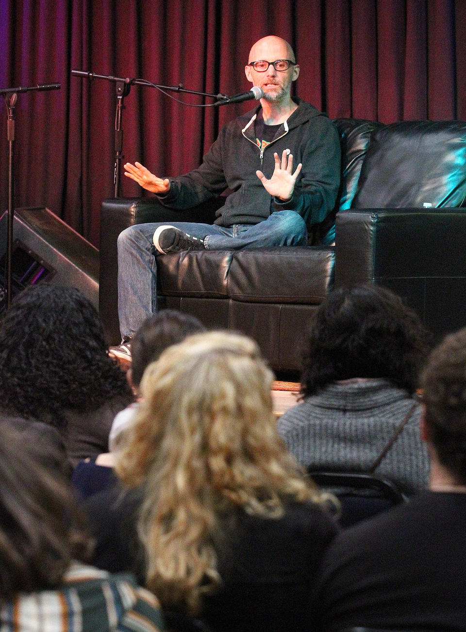 Moby answers an audience question at LAMA in Pasadena where the popular musician was interviewed on Wednesday, January 15, 2014. Moby, is an American singer-songwriter, musician, DJ and photographer. He is well known for his electronic music. (Tim Berger/Staff Photographer)