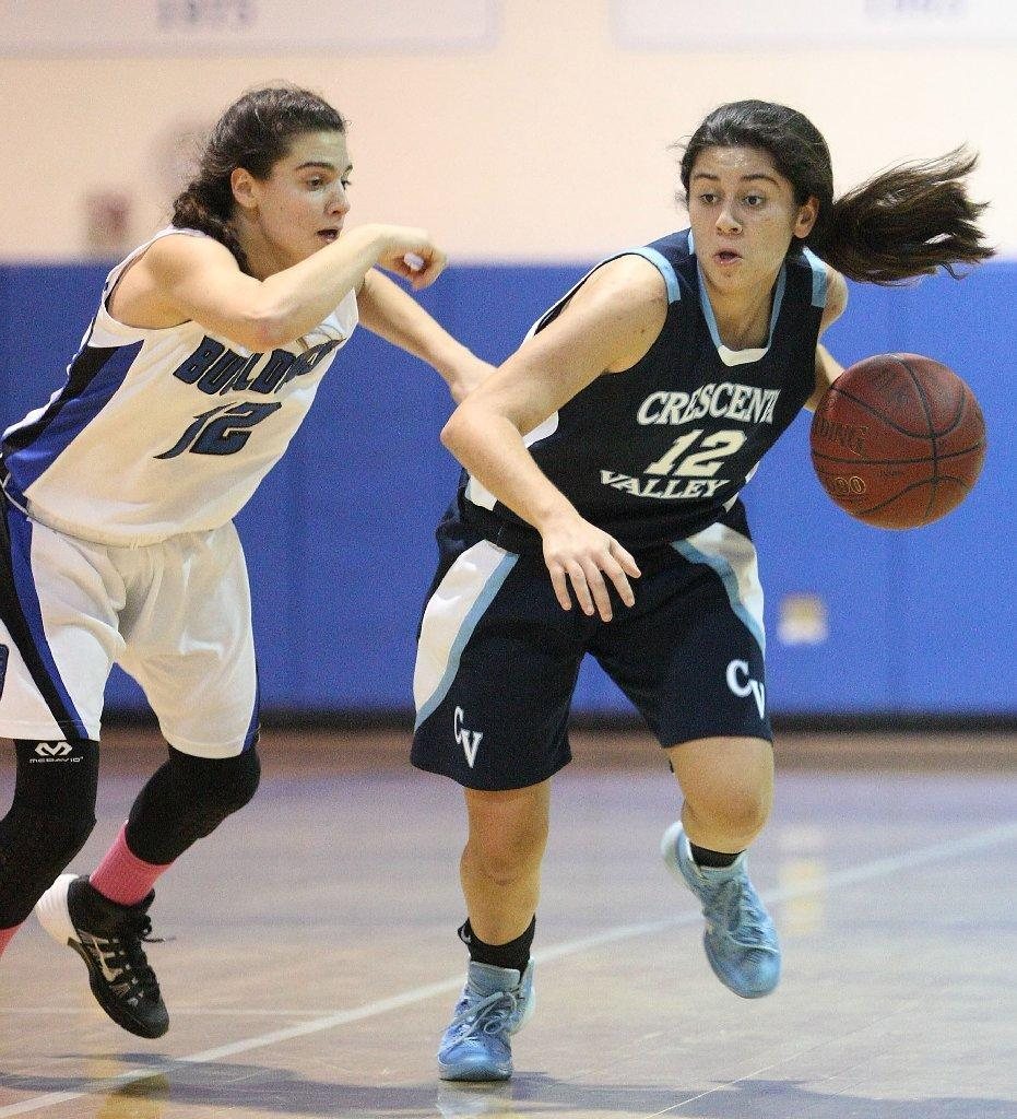 Crescenta Valley's Liana Esmaili drives the ball with Burbank's Sharis Ghazeri in pursuit during a Pacific League game at Burbank High on Wednesday. (Roger Wilson/Staff Photographer)