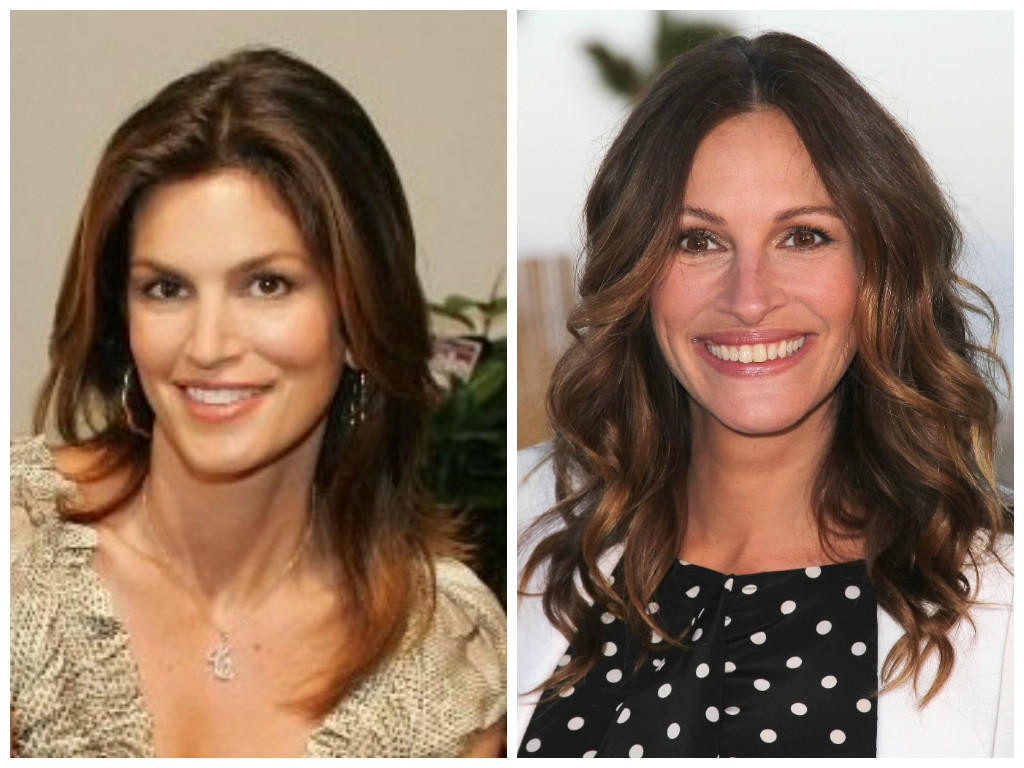 Supermodel Cindy Crawford (left) and actress Julia Roberts (right).