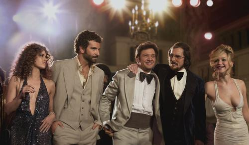 """""""American Hustle"""" <br><br> Best Picture <br> Best Actor in a Supporting Role, Bradley Cooper <br> Best Actress in a Supporting Role, Jennifer Lawrence <br> Best Directing, David O. Russell <br> Best Actor, Christian Bale <br> Best Actress, Amy Adams <br> Best Original Screenplay <br> Best Costume Design <br> Best Film Editing <br> Best Production Design"""