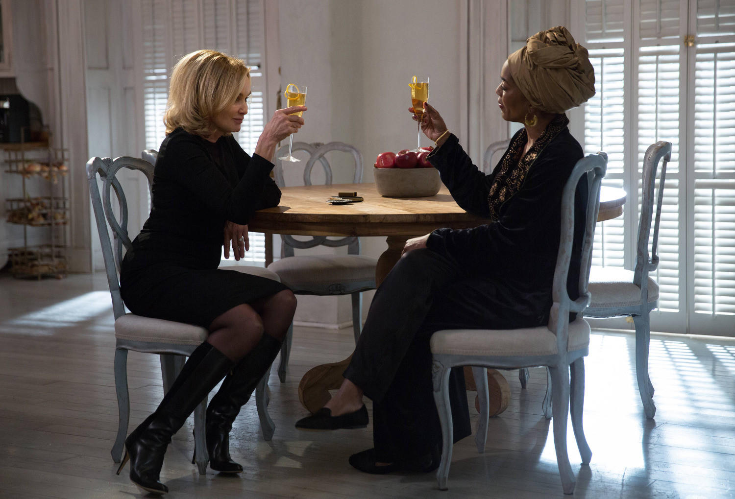 "Jessica Lange (left) as Fiona and Angela Bassett as Marie on ""American Horror Story: Coven."""