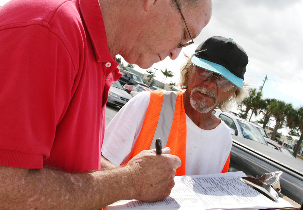 In this Sun Sentinel file photo, a homeless veteran is interviewed during the annual Broward County homeless census.