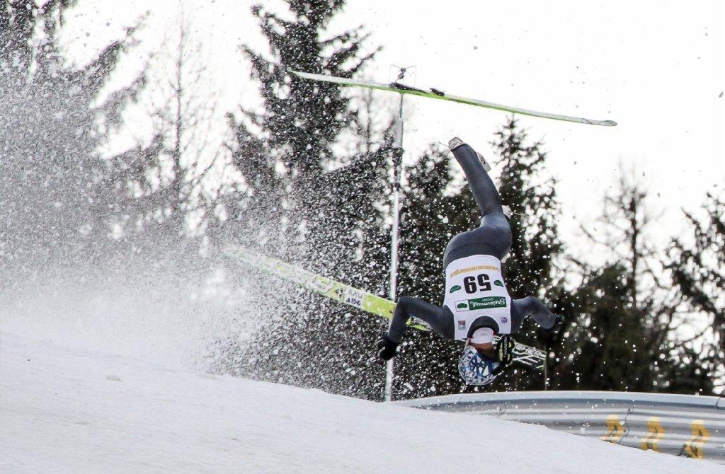 Austria's Thomas Morgenstern crashes during a trial round for the FIS Ski Jumping World Cup on Jan. 10.