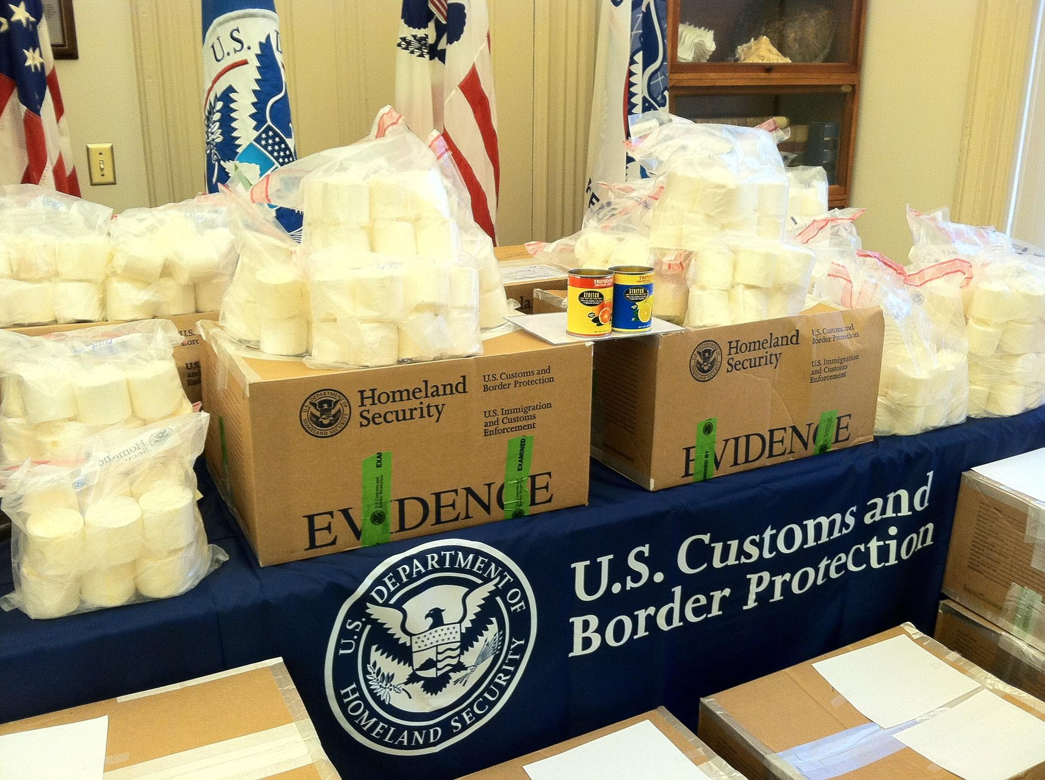 A portion of the 700 pounds of cocaine uncovered at the Port of Norfolk.