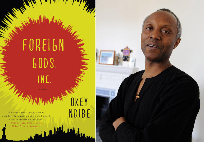 "Author Okey Ndibe and the cover of his book ""Foreign Gods Inc."""