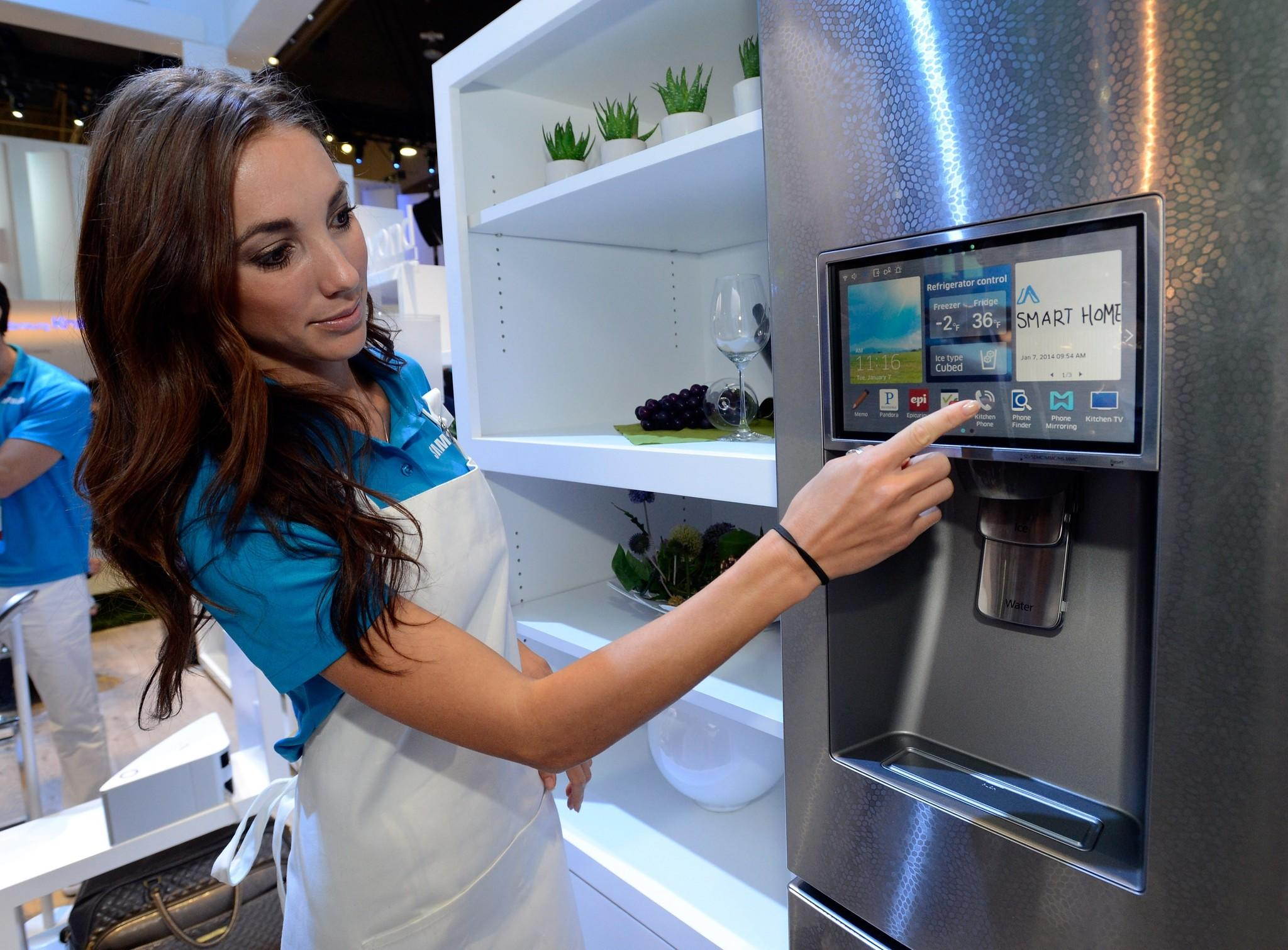 A smart refrigerator by Samsung is on display at the 2014 Consumer Electronics Show.