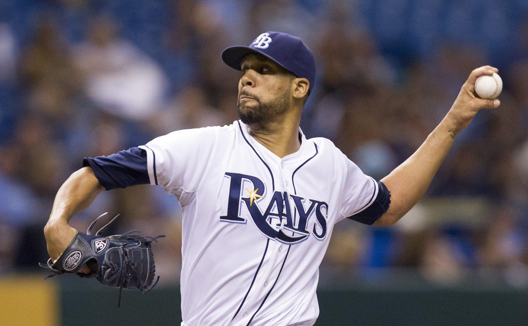 Tampa Bay Rays pitcher David Price throws in the first inning against the Seattle Mariners at Tropicana Field in St. Petersburg, Florida, on Wednesday, August 14, 2013.
