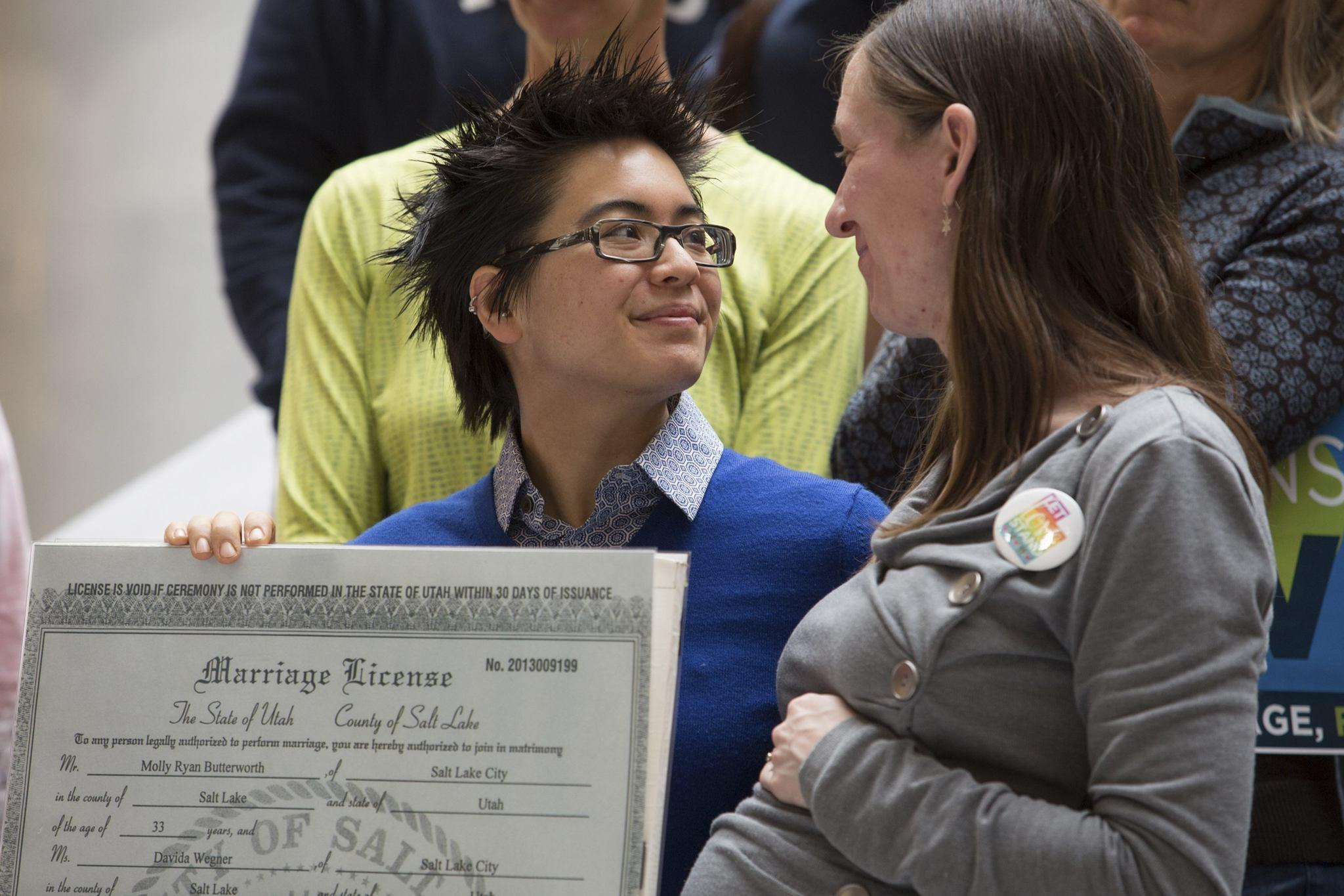 Molly Ryan Butterworth and Davida Wegner attend a rally supporting same-sex marriage at the state capitol in Salt Lake City, Utah on Jan. 10.