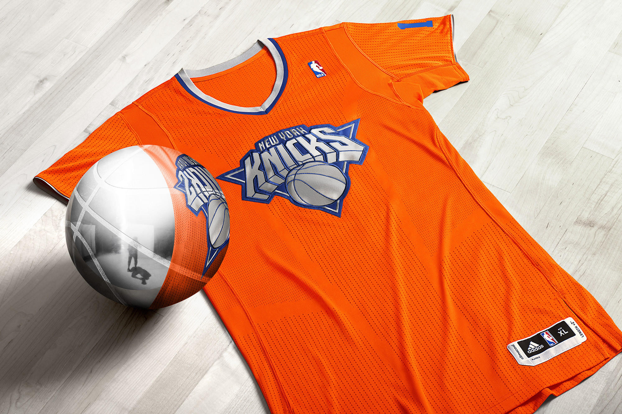 The New York Knicks will wear specially designed jerseys with sleeves when they play on Christmas Day this year. Handout photo provided by: NBA