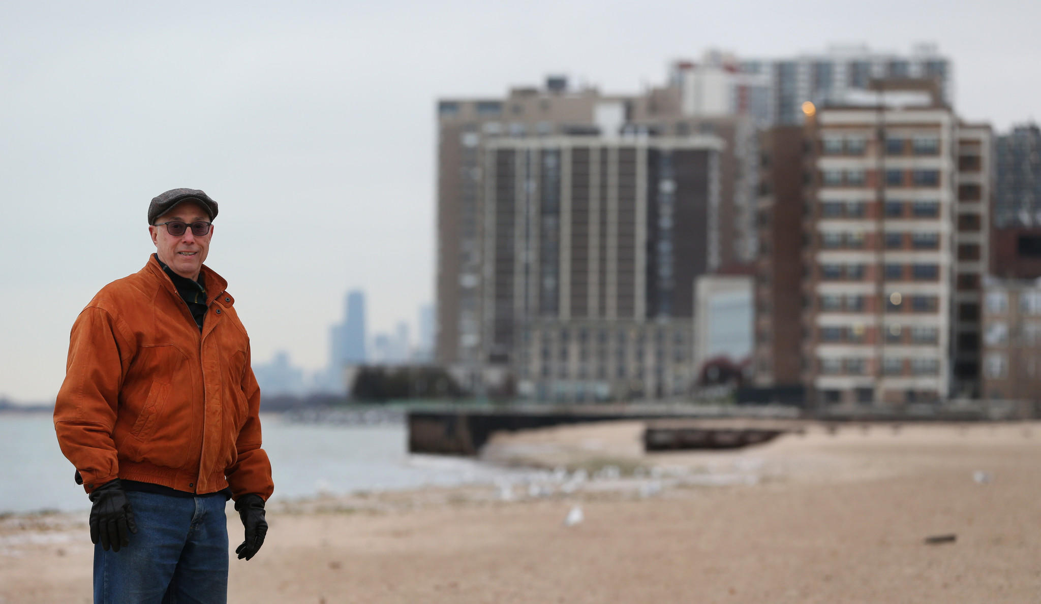 Fred Schein, son of activist Tobey Prinz, stands at Pratt Beach in Rogers Park on Nov. 26, 2013. The beach will be renamed after Prinz.