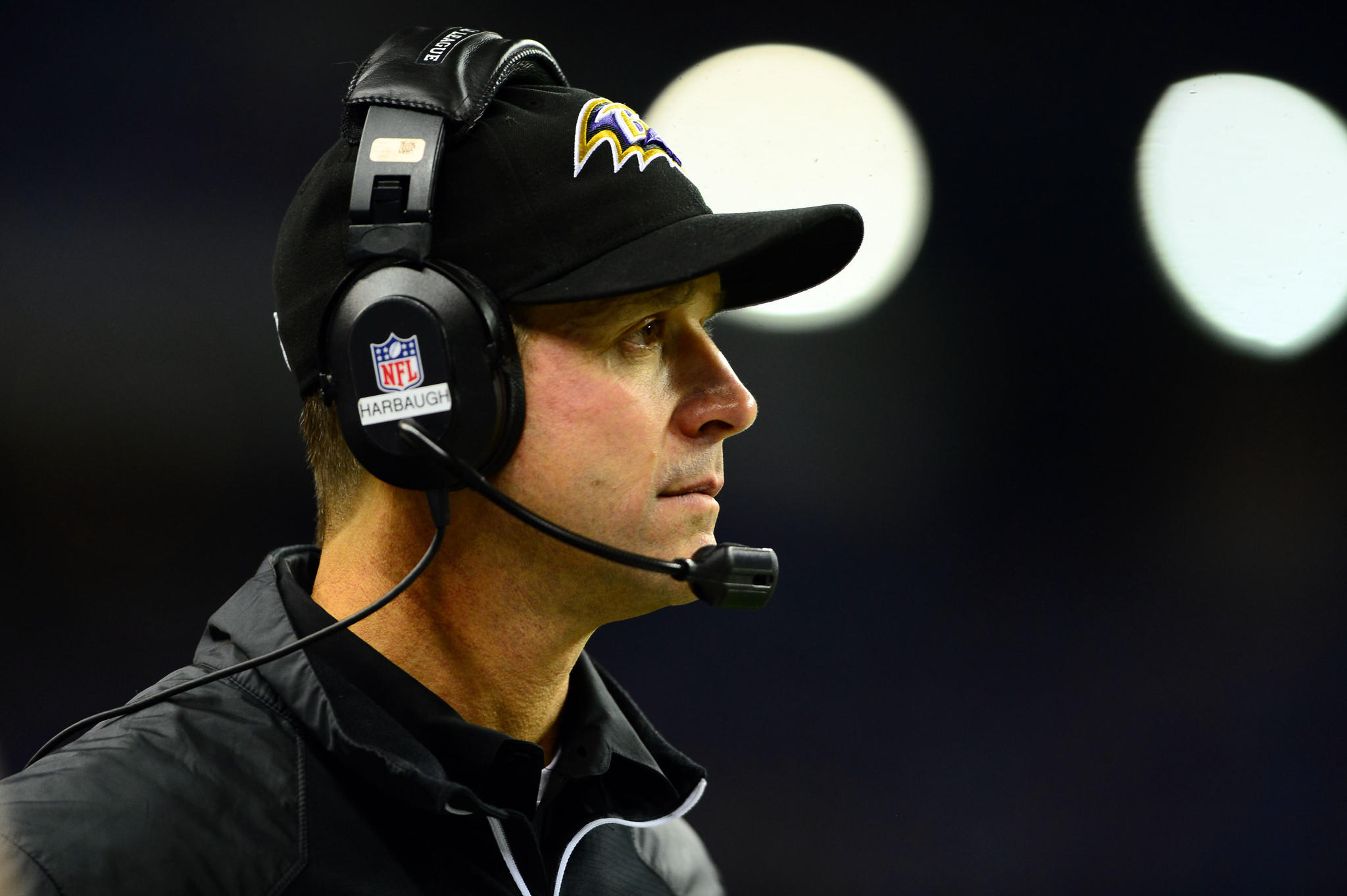 Ravens coach John Harbaugh on the sidelines as the Ravens faced the Detroit Lions in December.