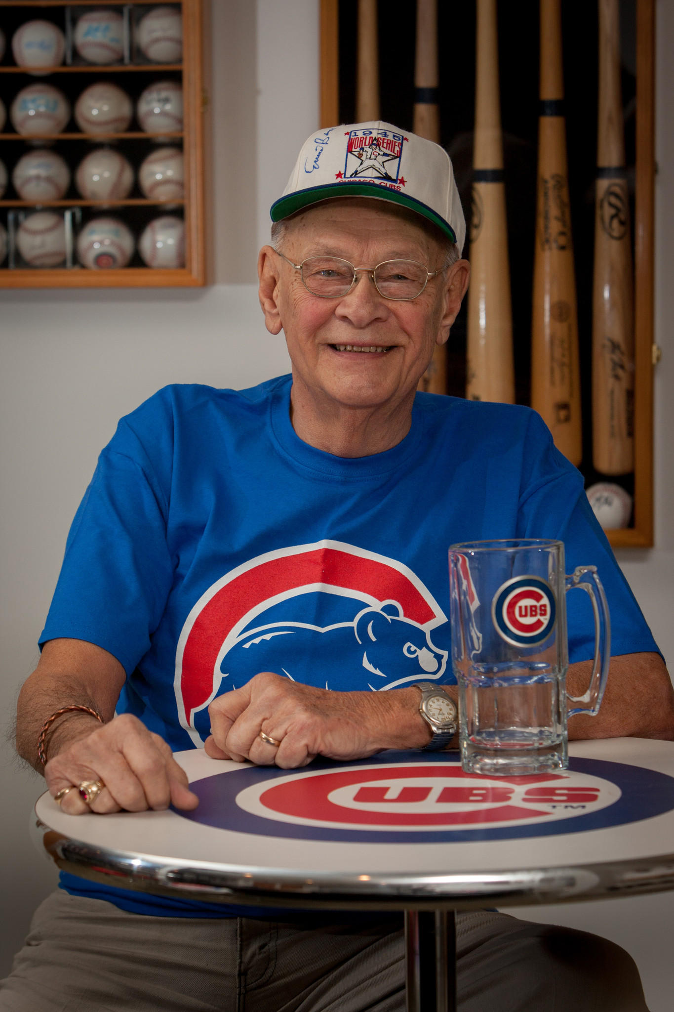 Ray Picl, an 86-year-old man in Peoria Heights, who is the head of Chicago Cubs Boosters of Central Illinois.