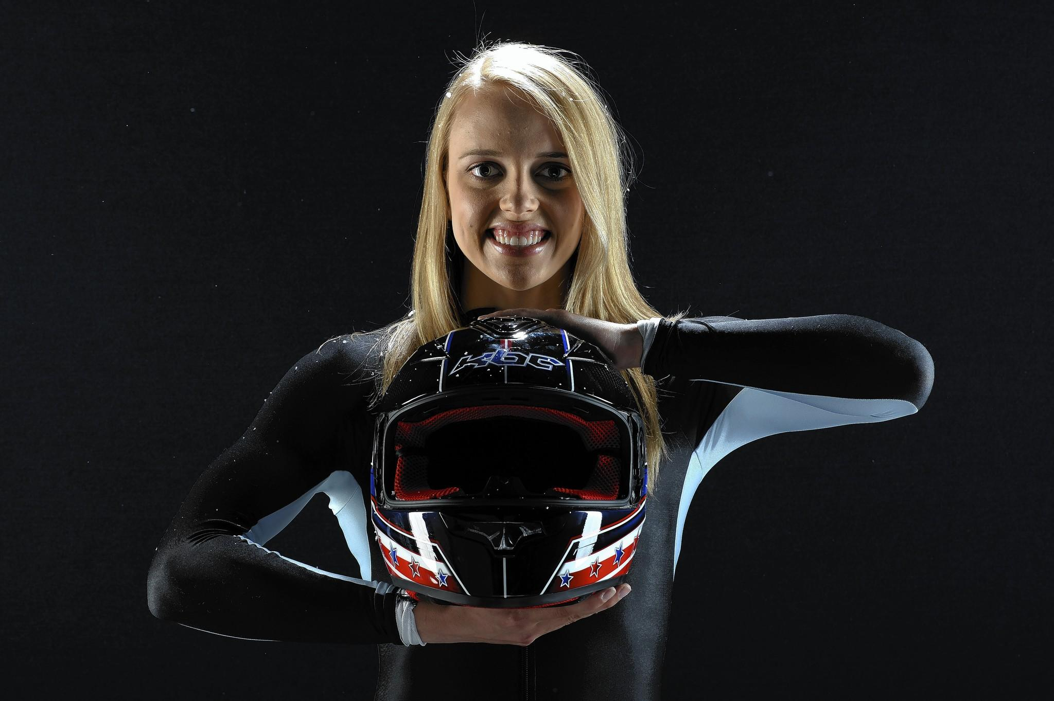 Bobsledder Katie Eberling poses for a portrait during the USOC Portrait Shoot.