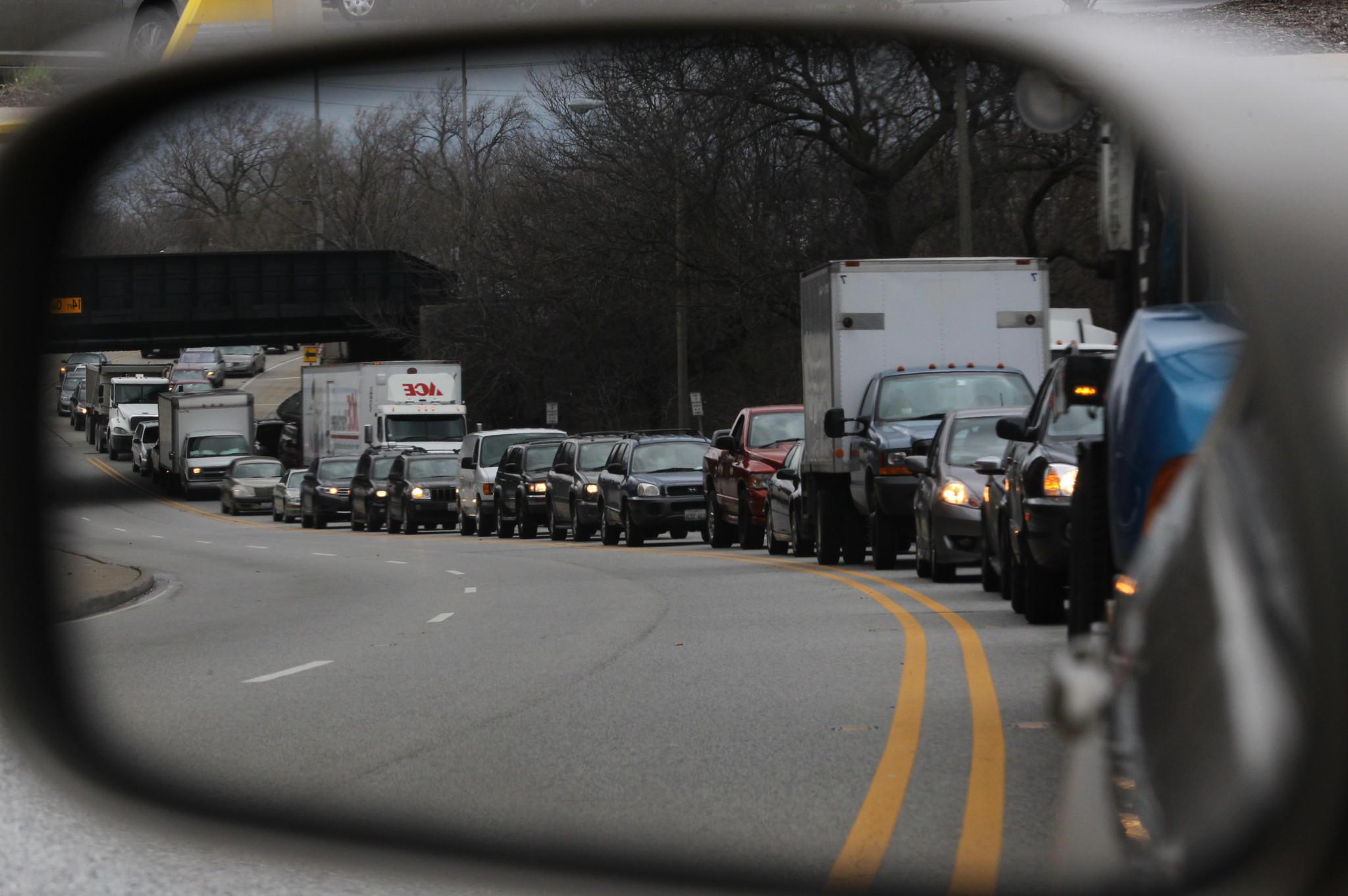 Traffic backs up on Ogden just east of La Grange Ave.