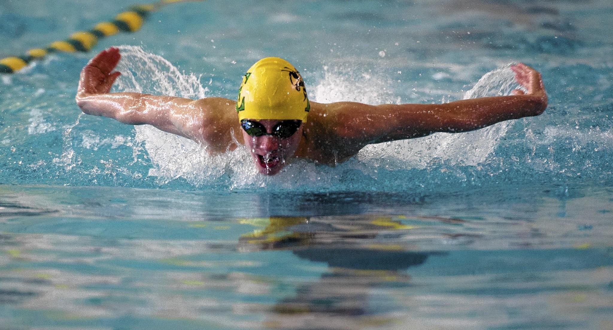 Emmaus' Tom Schlechter competes in the 200 IM against Central Catholic at Emmaus High Schol on Thursday.