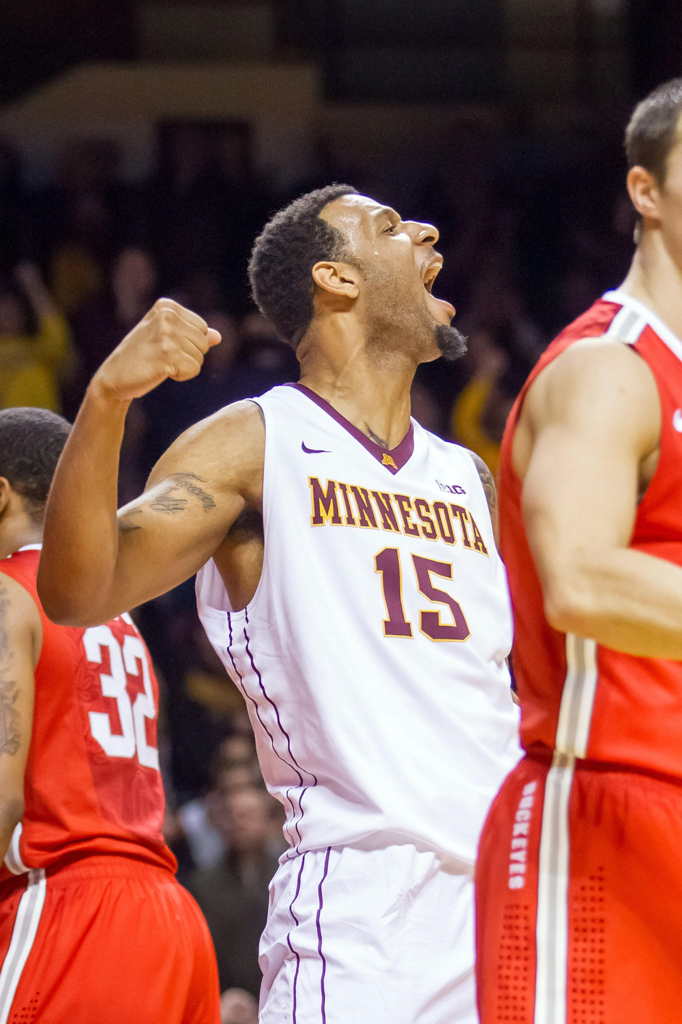 Minnesota's Maurice Walker celebrates in the second half against Ohio State at Williams Arena.