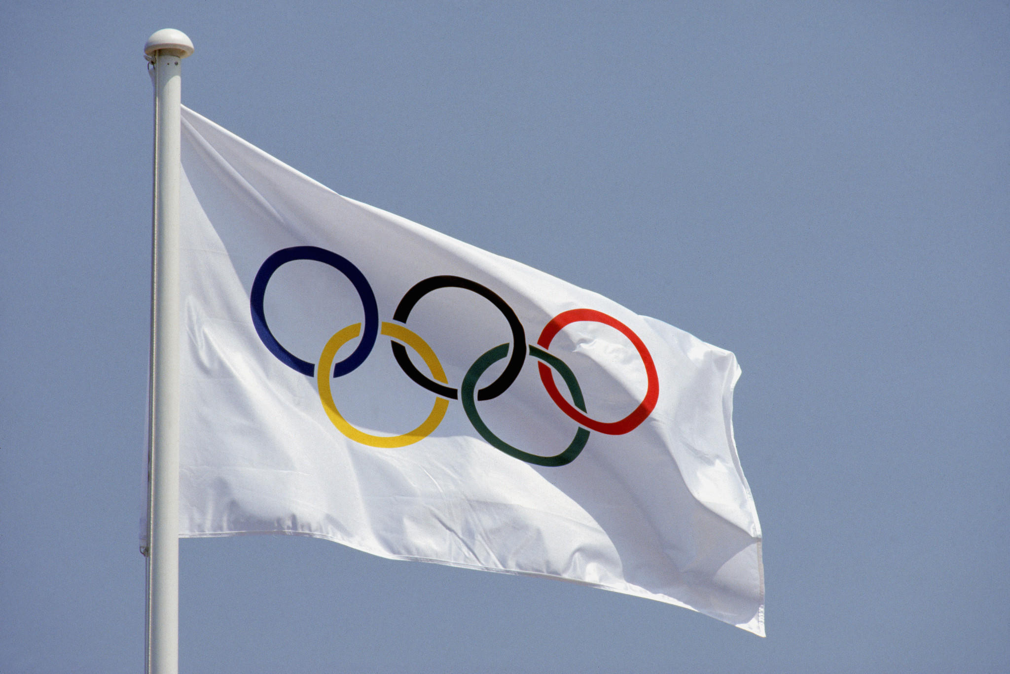 General view of the Official Olympic Flag.