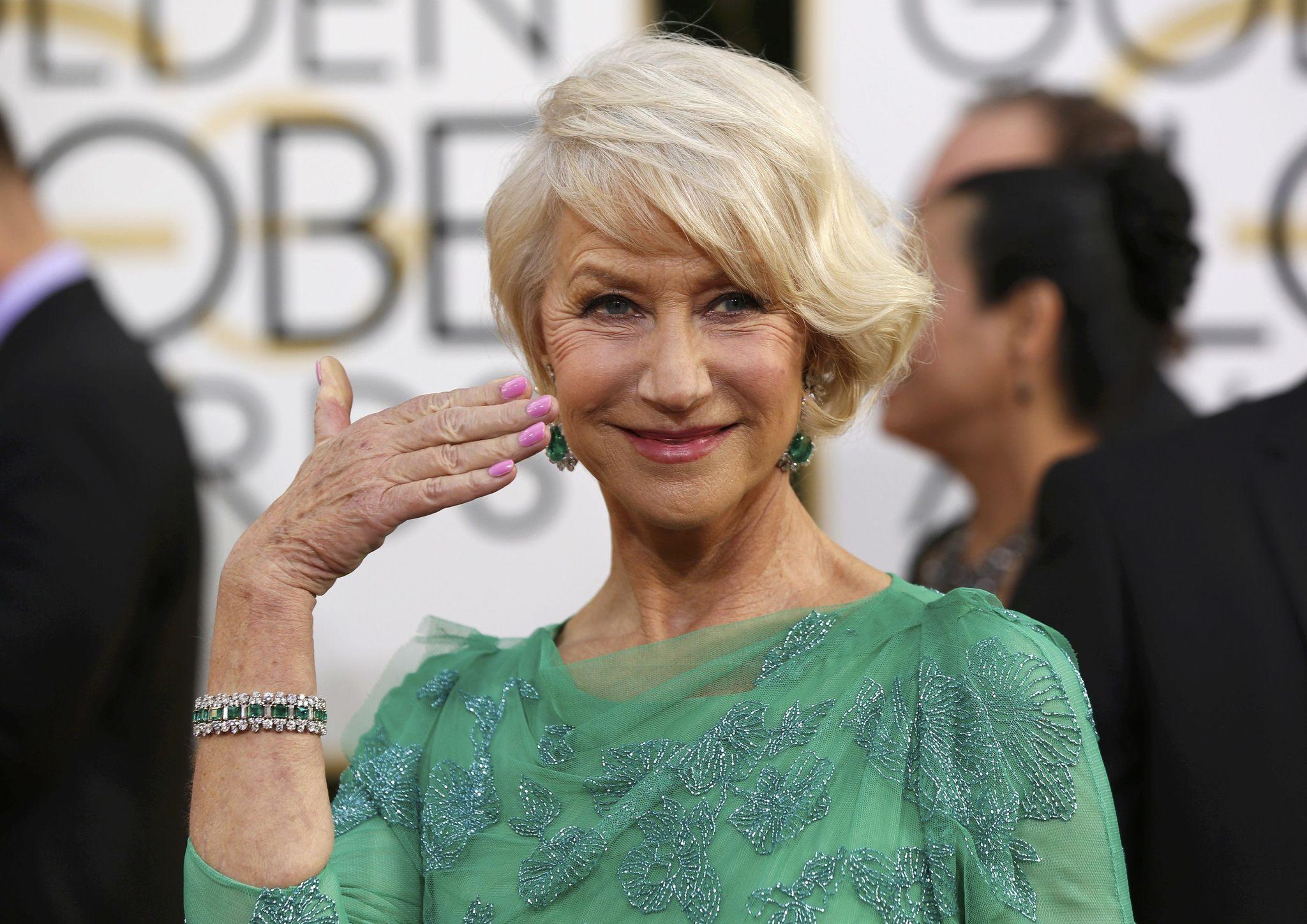 Dame Helen Mirren arrives at the 71st annual Golden Globe Awards.