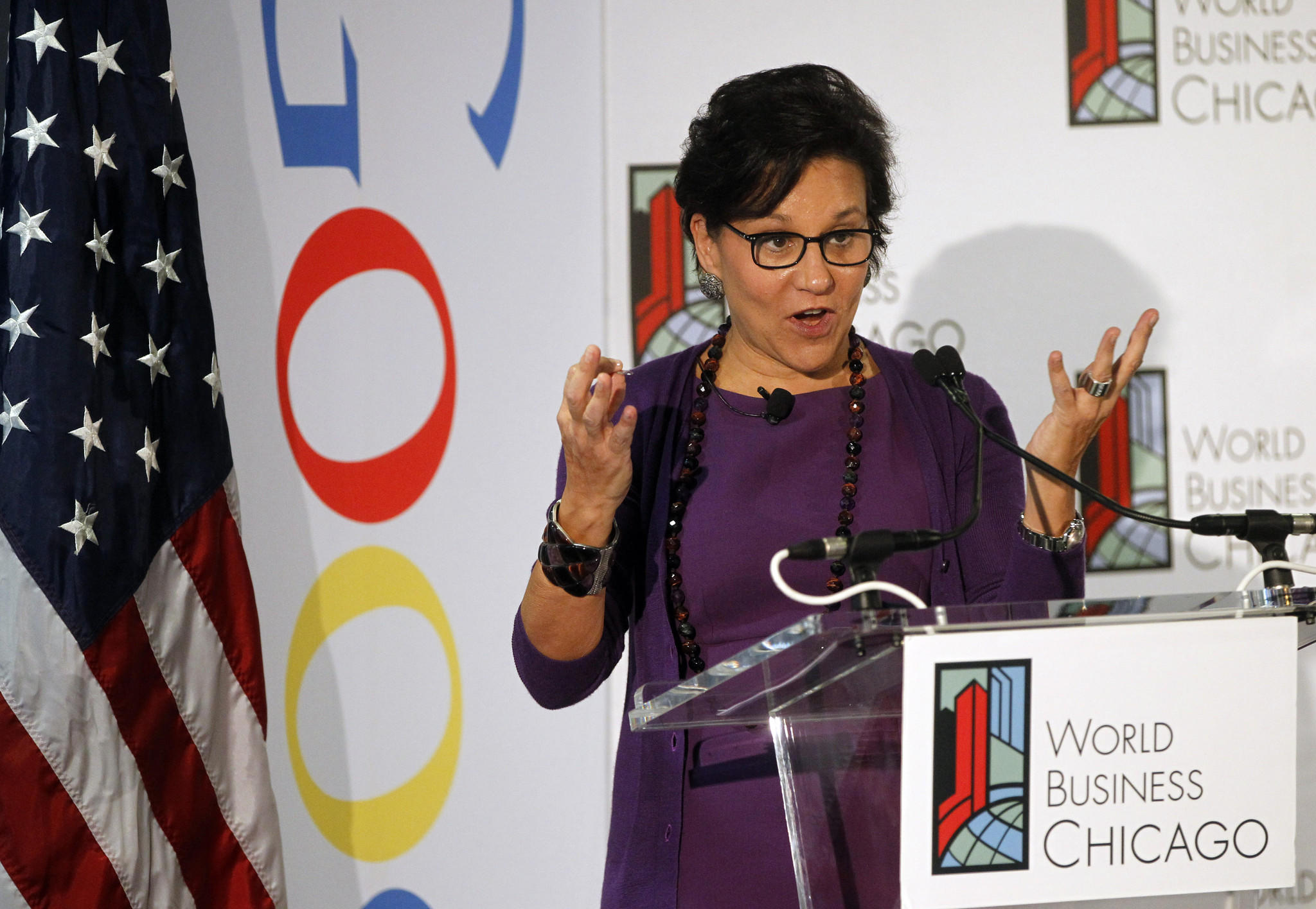Commerce Secretary Penny Pritzker speaks during a World Business Chicago event Wednesday, Nov. 6, 2013 at Google's River North offices.