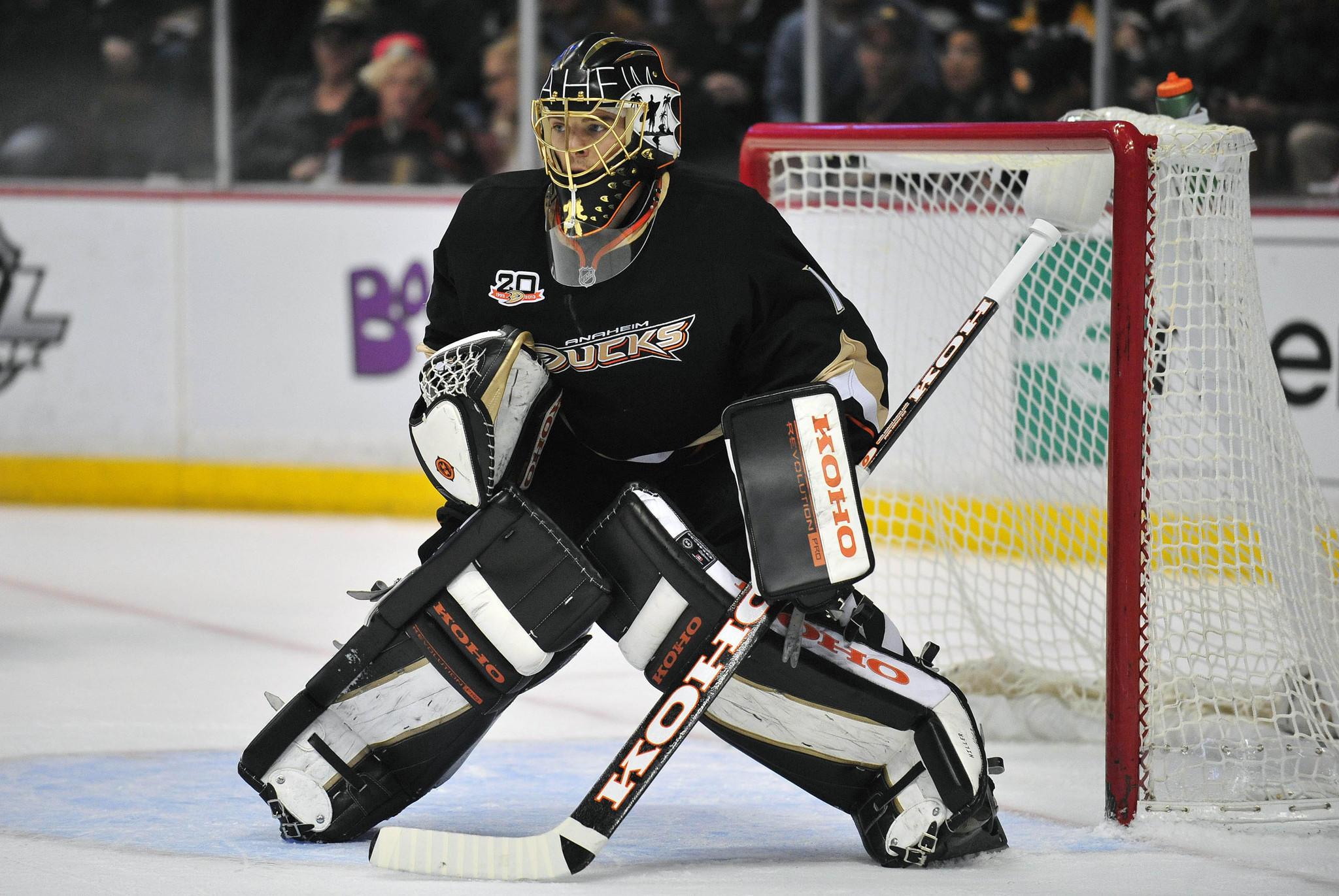 Anaheim Ducks goalie Jonas Hiller.