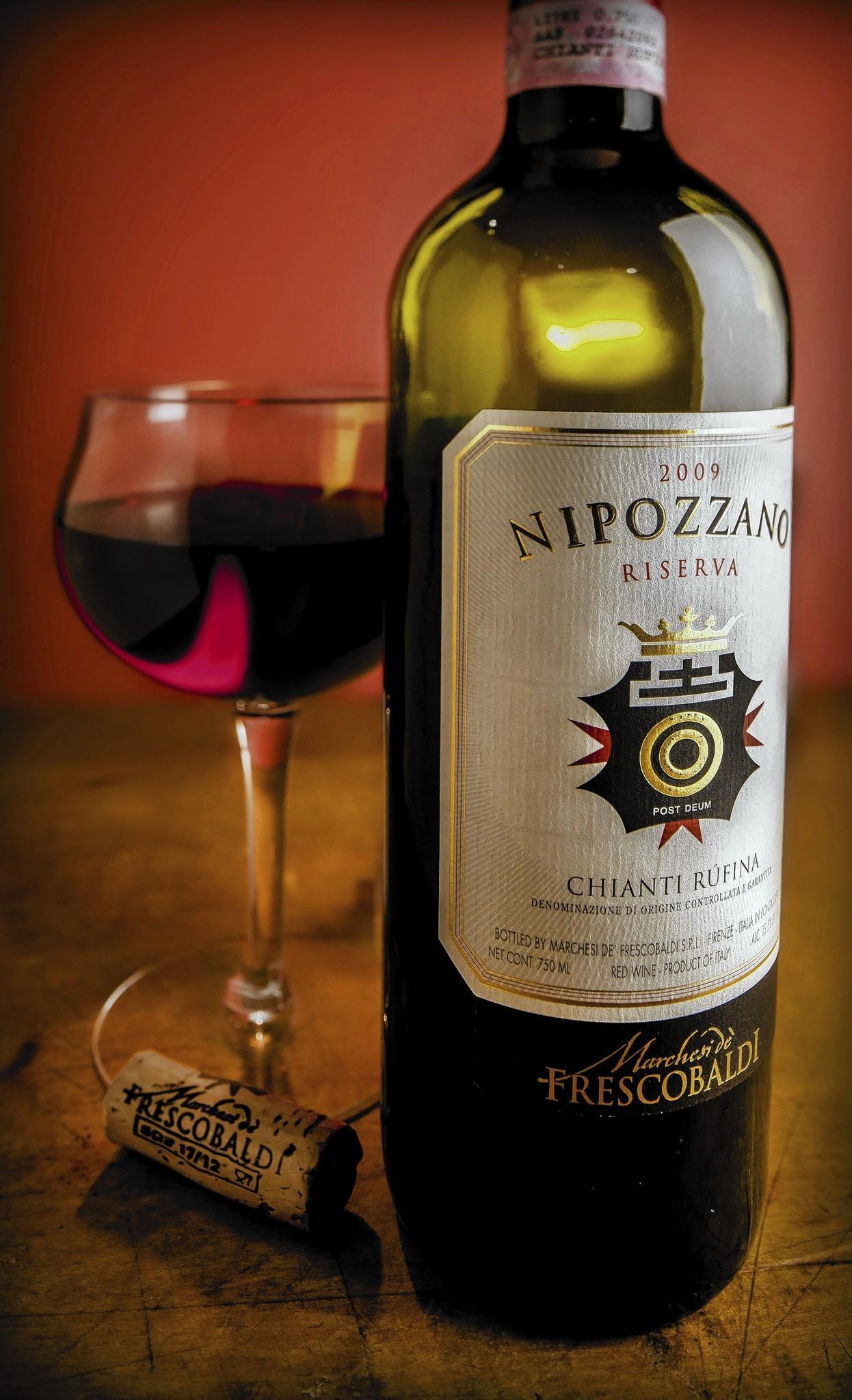 A bottle of Nipozzano Chianti Rufina.