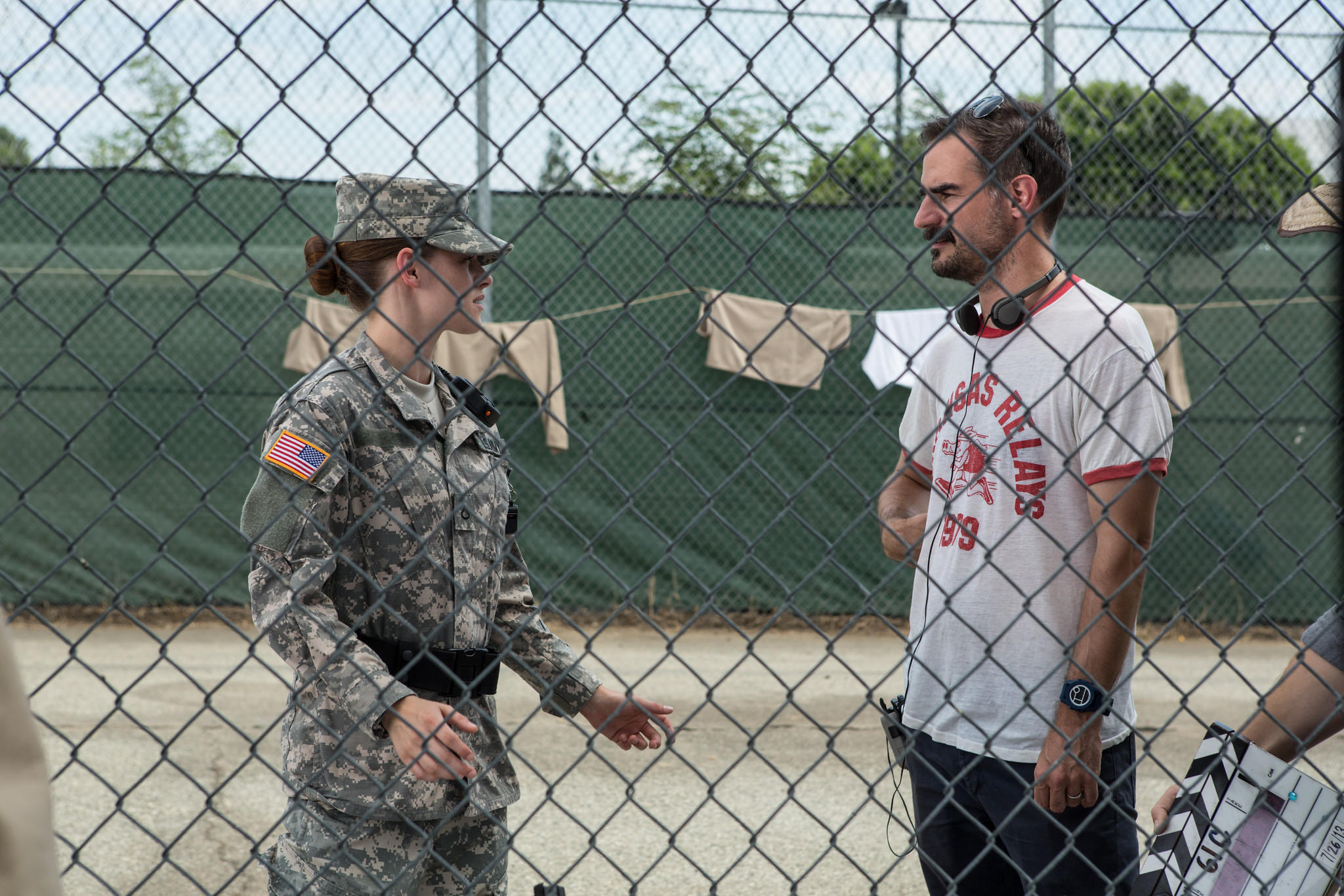 "Actress Kristen Stewart on the set of ""Camp X-Ray."""