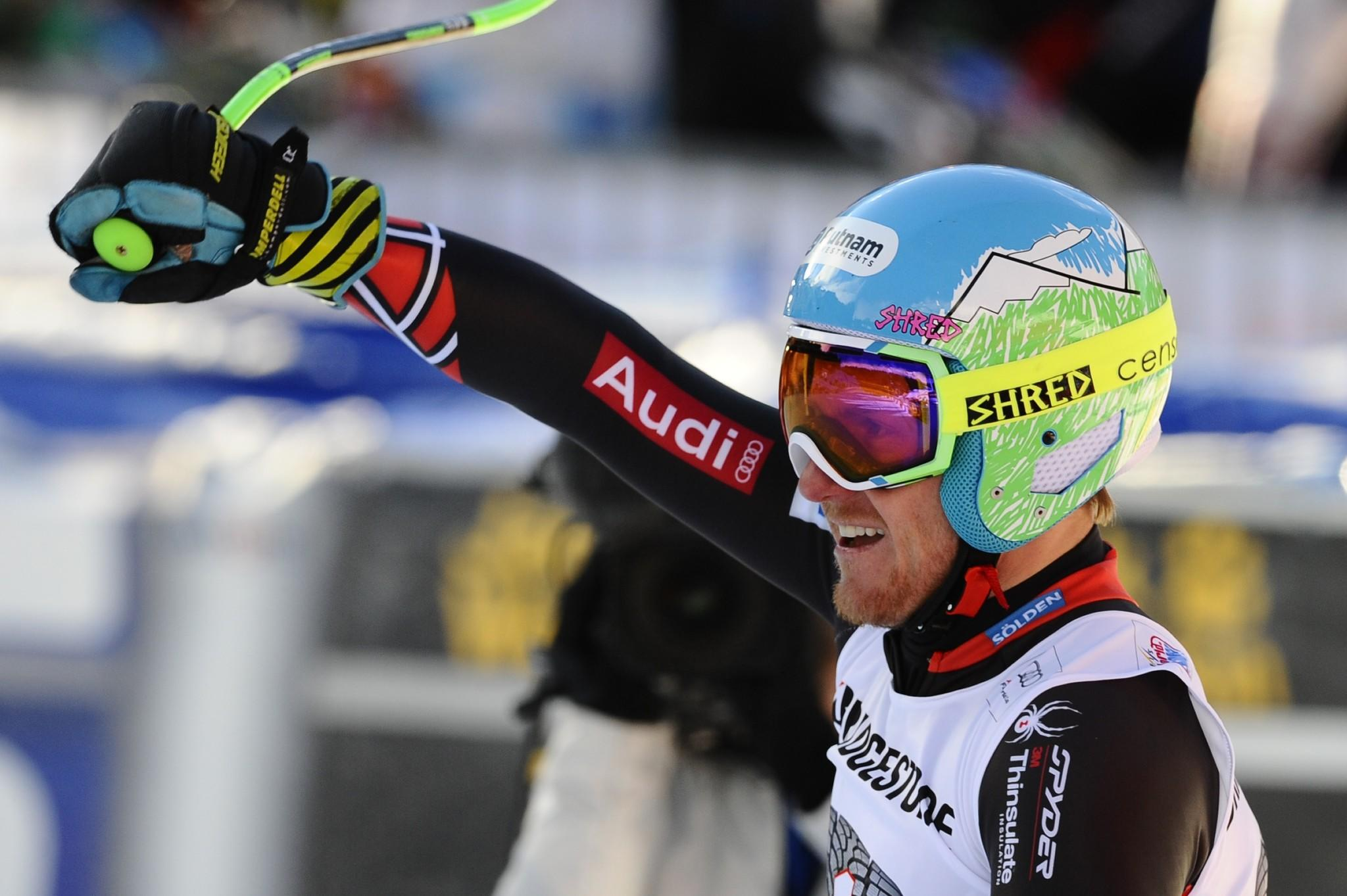 Ted Ligety of the United States takes first place during the Alpine Ski World Cup Men's Super Combined Friday in Wengen, Switzerland.
