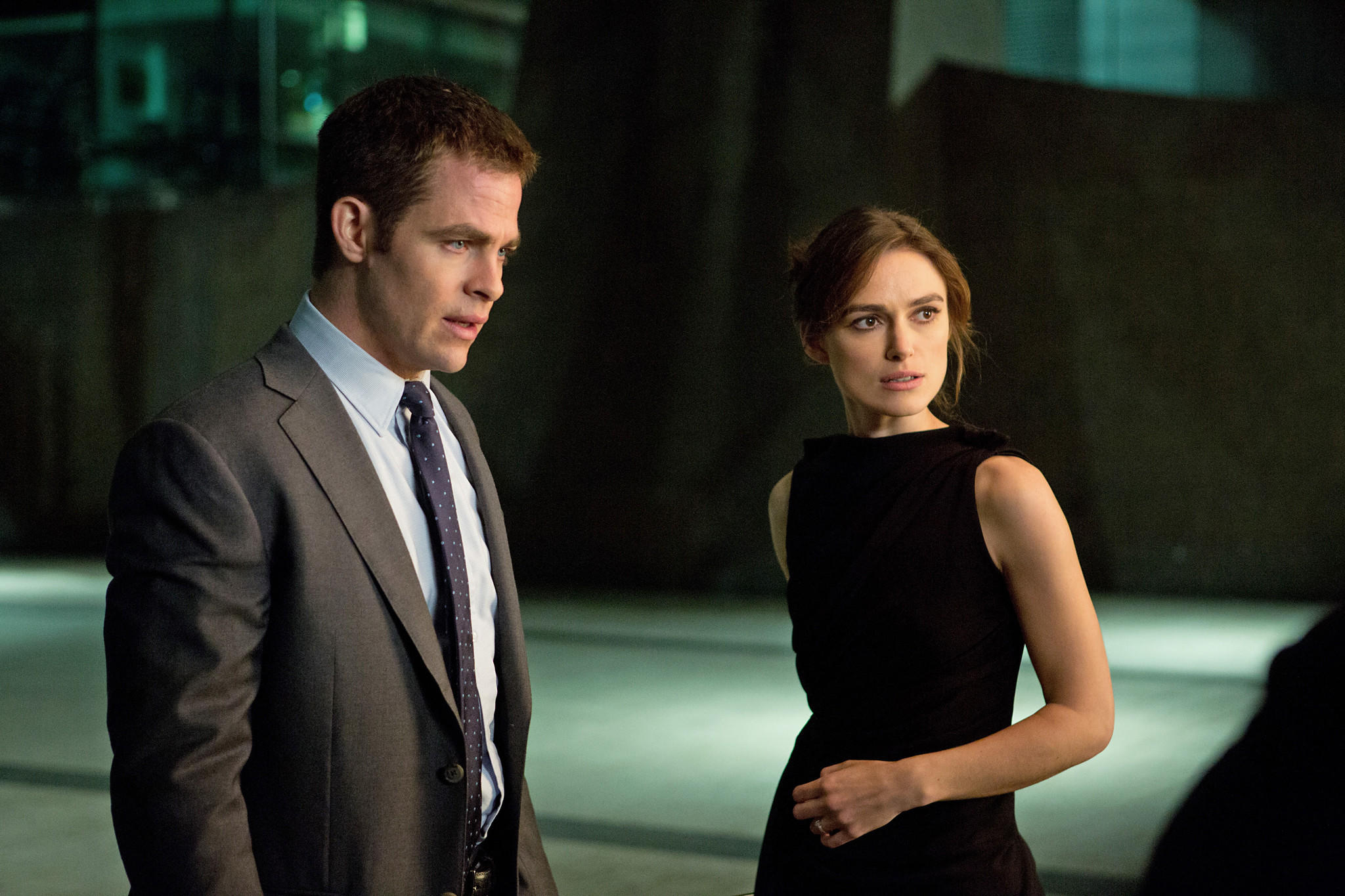 "Left to right: Chris Pine is Jack Ryan and Keira Knightley is Cathy Muller in ""Jack Ryan: Shadow Recruit,"" from Paramount Pictures and Skydance Productions."