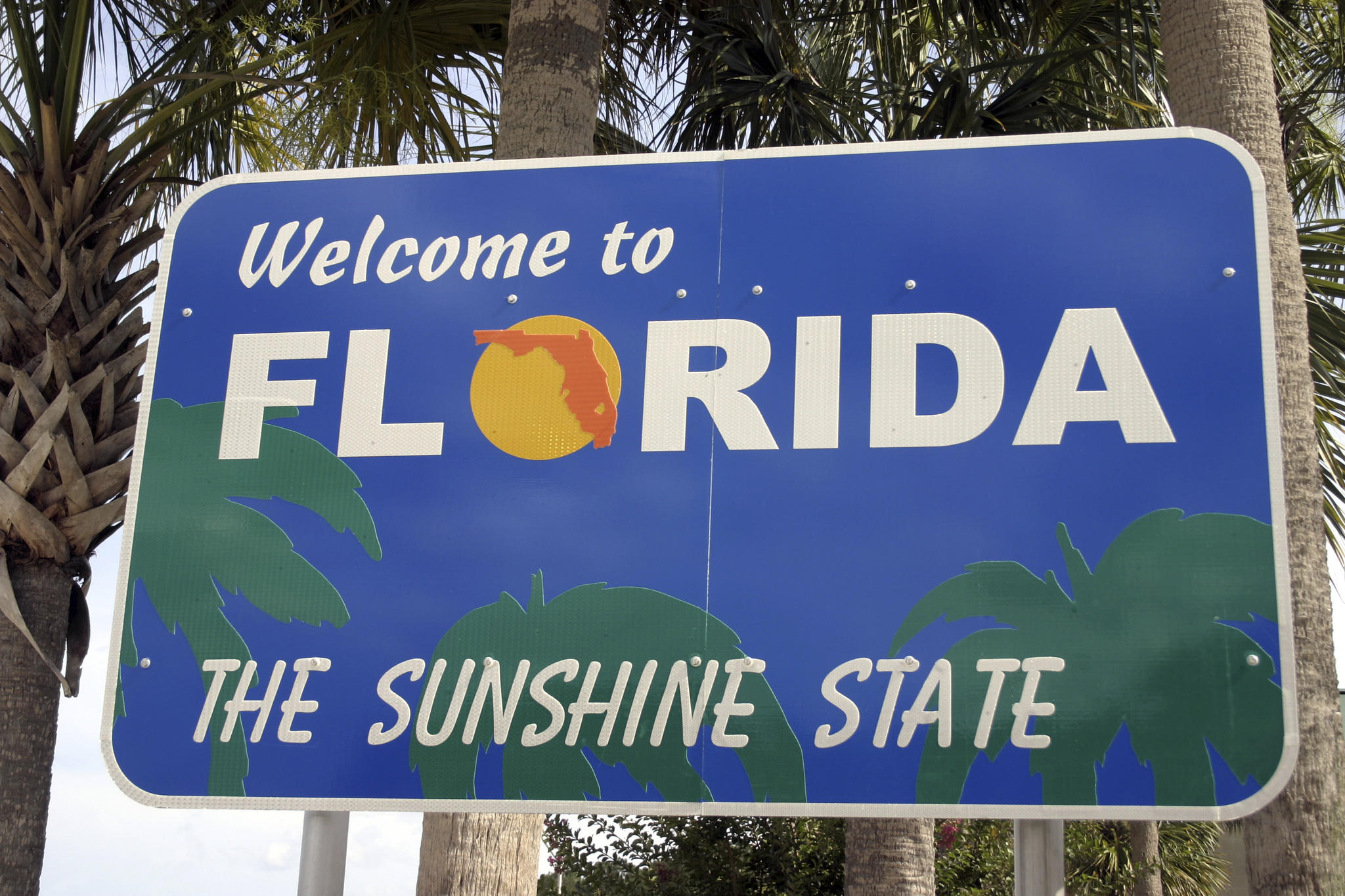 Welcome to Florida sign that is seen at the state line.