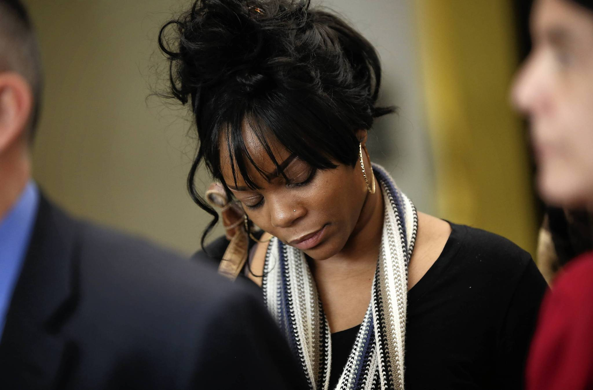 Ericka Barnes, mother of Mya Lyons, at the George N. Leighton Criminal Court Building after the jury found Mya's father, Richard Lyons, guilty of murdering the 9-year-old girl.